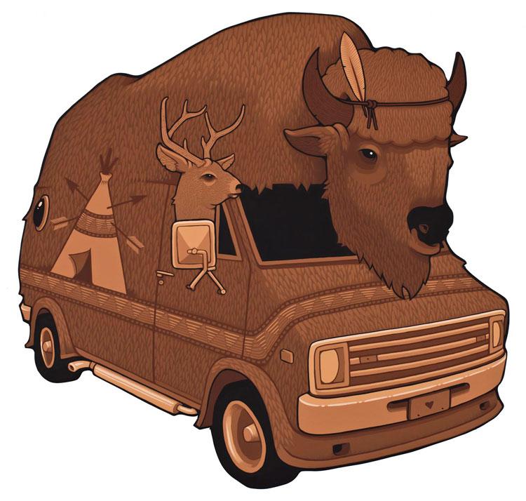 camioneta van café estilo indio americano con cabeza de búfalo
