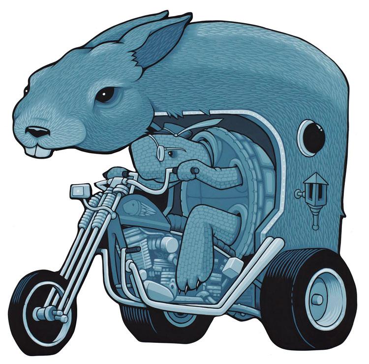 fábula la liebre y la tortuga en moto por Jeremy Fish