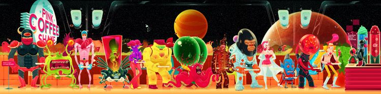 Personajes alienígenas en fila para la comida